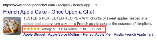 Example of a rich snippet for the search for apple cake