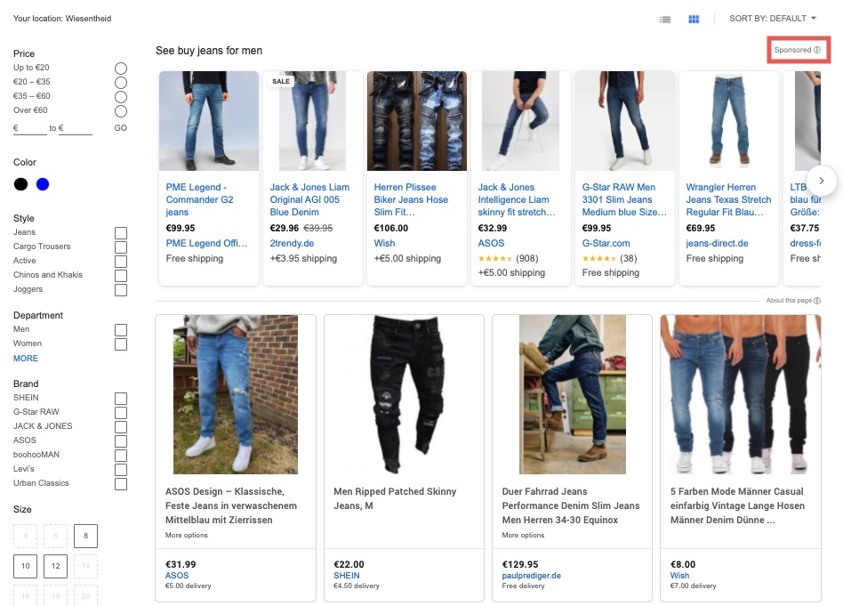 """Google Shopping has its tab called """"Shopping"""" in which all relevant products are displayed and can be filtered."""