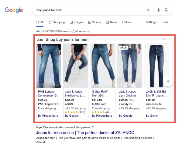 Google Shopping results above the search results