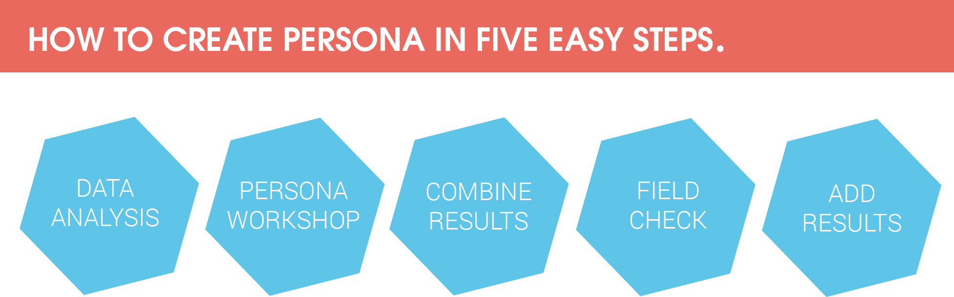 Develop a persona profile in five easy steps:  1. data analysis  2. persona workshop  3. combine results  4. field check  5. add results
