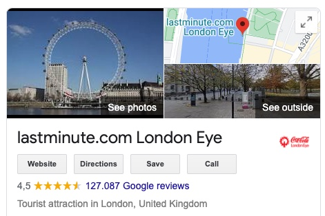 This screenshot shows a section of the London Eye's Google My Business listing. Below the website or route button, you will find the Google reviews that have already been submitted.