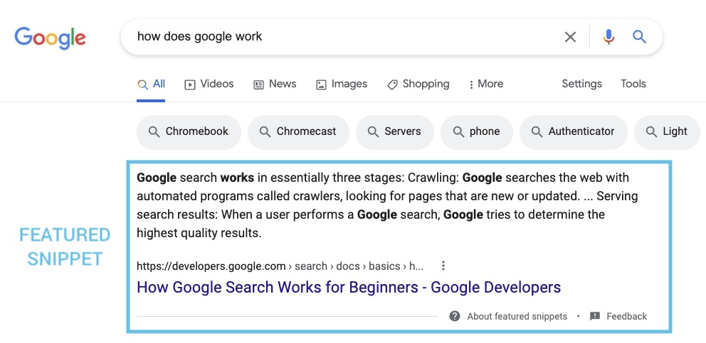 Example of a featured snippet in the Google SERPs