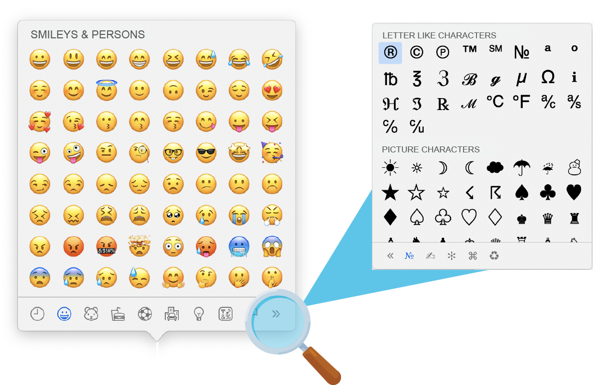 Inserting emojis and special characters into the snippet via keyboard shortcuts