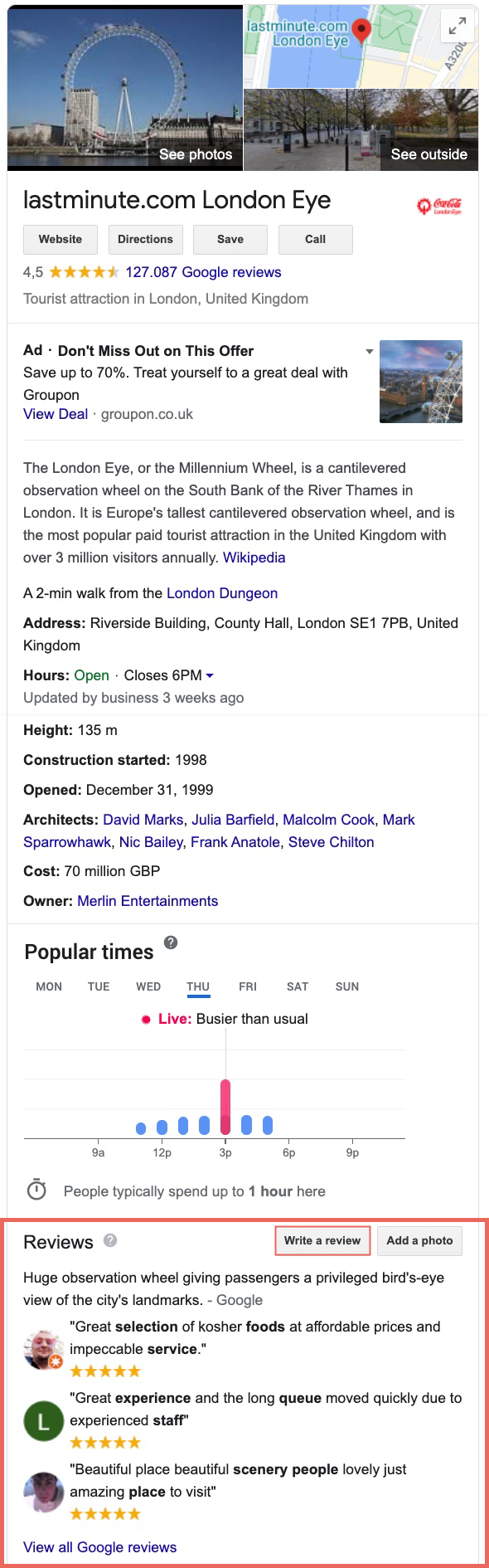 """You can see the Google My Business profile of London Eyes. In addition to general information about the address, opening hours, route, website, etc., you will also find the reviews that have already been submitted. Click the """"Write review"""" button in the company's info field to open the window where you can enter your review. You can also view all Google reviews that have already been submitted."""